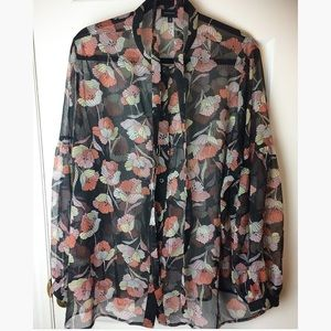 Who What Wear Floral Buttoned Blouse